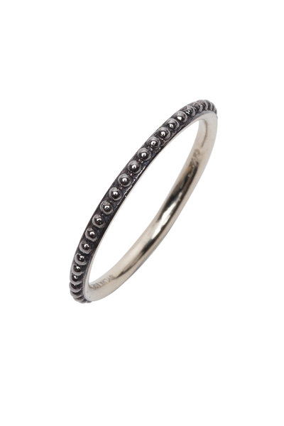 Sylva & Cie - 14K Oxidized White Gold Mini Caviar Band