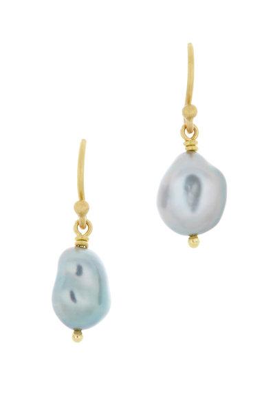 Caroline Ellen - 20K Gold South Sea Keshi Pearl Drop Earrings