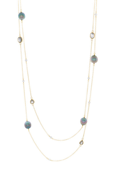 Caroline Ellen - 22K Yellow Gold Pearl & Diamond Necklace