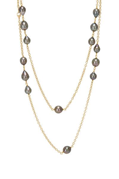 Caroline Ellen - Yellow Gold Tahitian Pearl Station Necklace