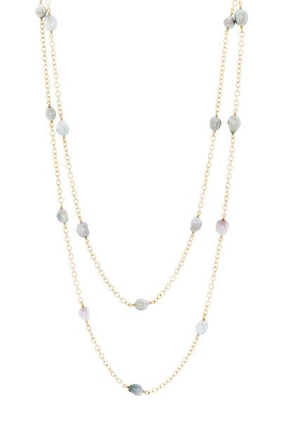 Caroline Ellen - Yellow Gold Gray Keshi Pearl Station Necklace