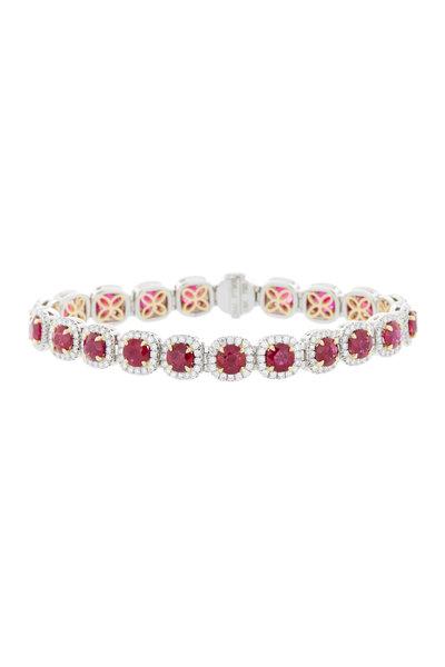Omi Privé - Platinum & Gold Ruby Diamond Bracelet