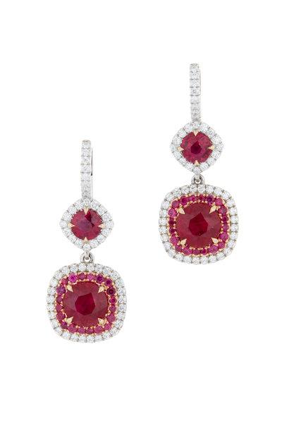 Omi Privé - Platinum & Gold Ruby Diamond Drop Earrings