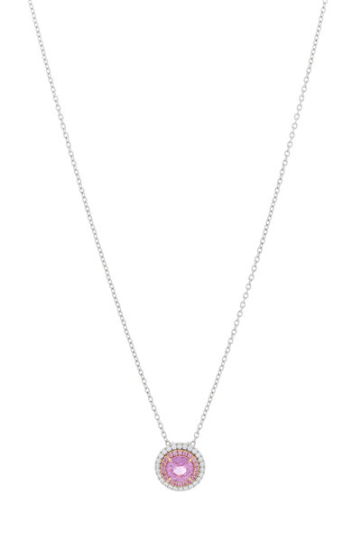 Omi Privé - 18K Gold & Platinum Pink Sapphire Diamond Necklace