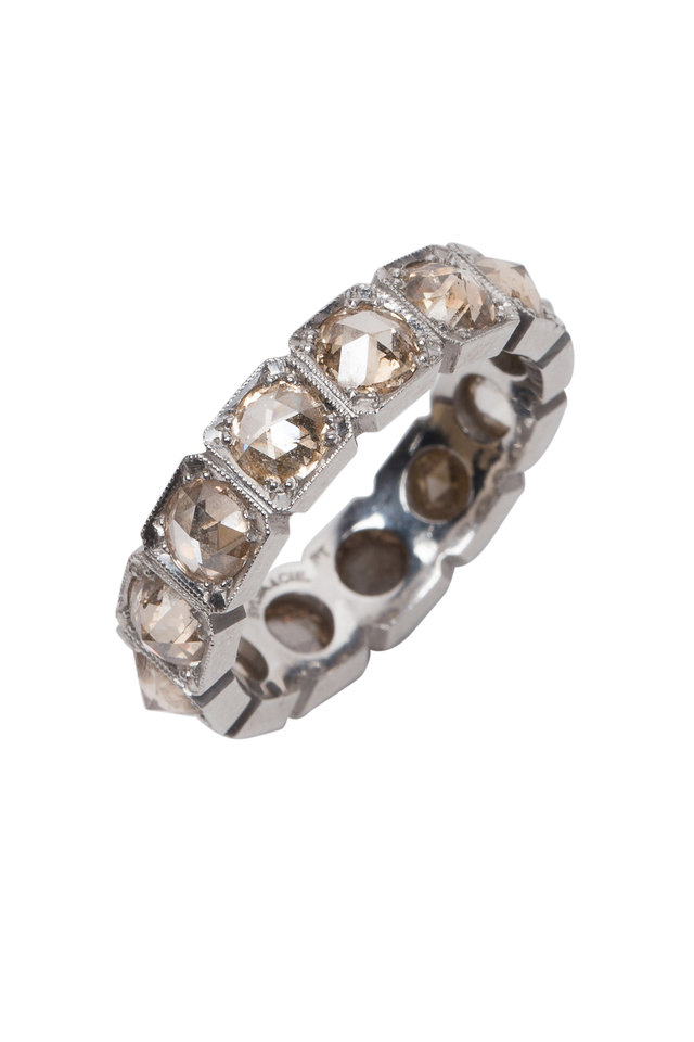 Platinum Brown Diamond Stackable Band