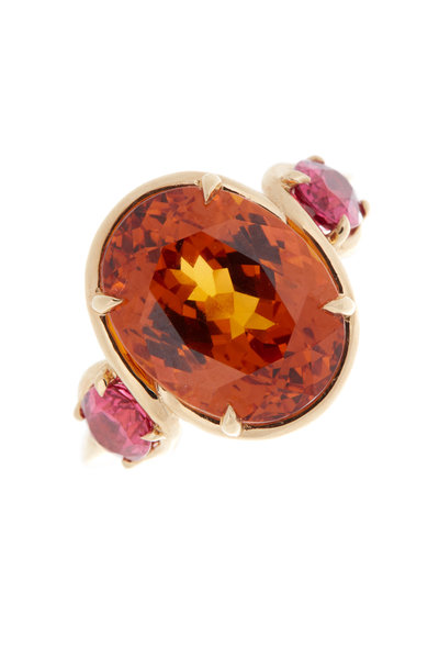 Omi Privé - Yellow Gold Spessartite Spinel Ruby Ring