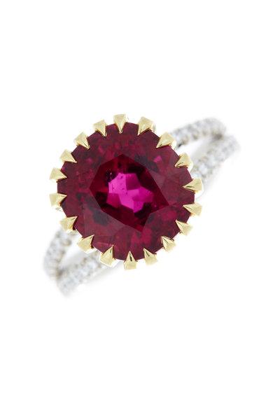 Omi Privé - 18K Gold & Platinum Rubellite & Diamond Ring