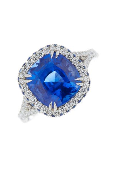 Omi Privé - Platinum Sapphire Diamond Cocktail Ring