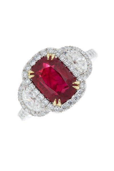 Omi Privé - Platinum Ruby & Diamond Ring