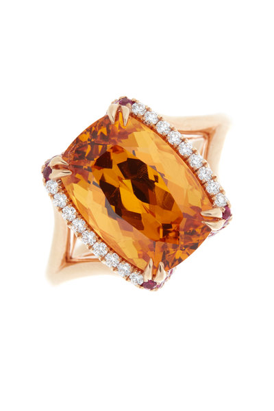 Omi Privé - Yellow Gold Spessartite Ruby & Diamond Ring