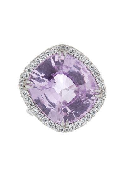 Omi Privé - Platinum Pink Sapphire Diamond Cocktail Ring