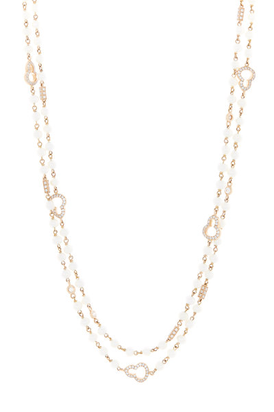 Eclat - Pink Gold Freshwater Pearl Diamond Chain Necklace