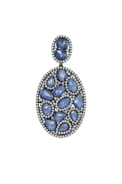 Sutra - White Gold Blue Sapphire Diamond Pendant