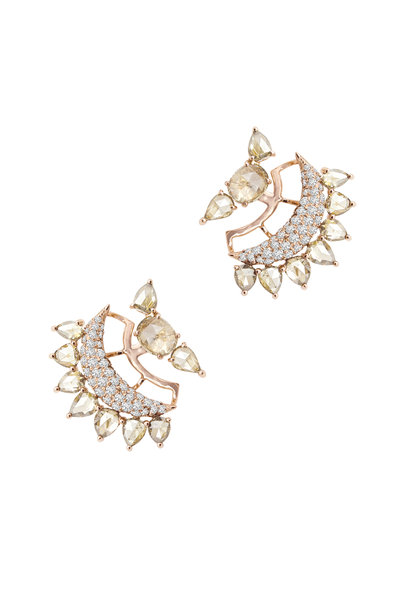 Sutra - Rose Gold All Diamond Cuff Earrings