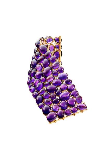 Kathleen Dughi - Yellow Gold Amethyst Diamond Bracelet
