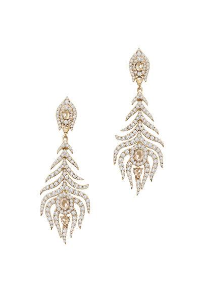 Sutra - 18K Yellow Gold Diamond Leaf Drop Earrings
