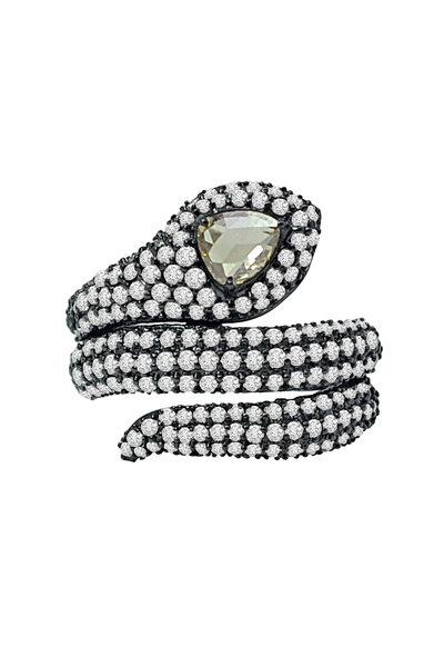 Sutra - 18K Rhodium Gold Diamond Snake Ring