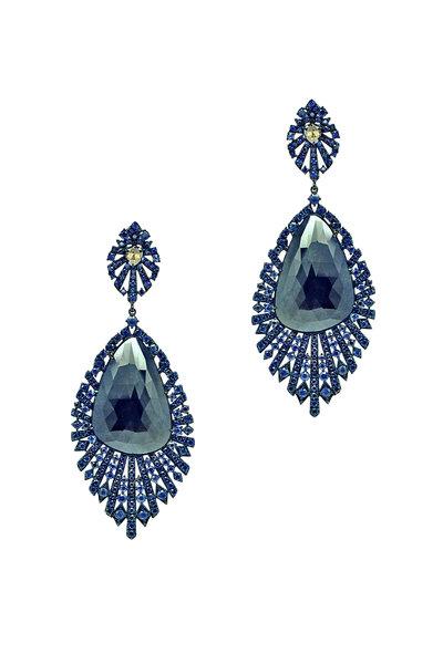 Sutra - Gold Sapphire & Diamond Drop Earrings