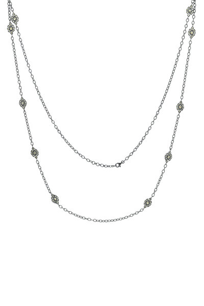 Sutra - Gold White Diamond Station Chain Necklace