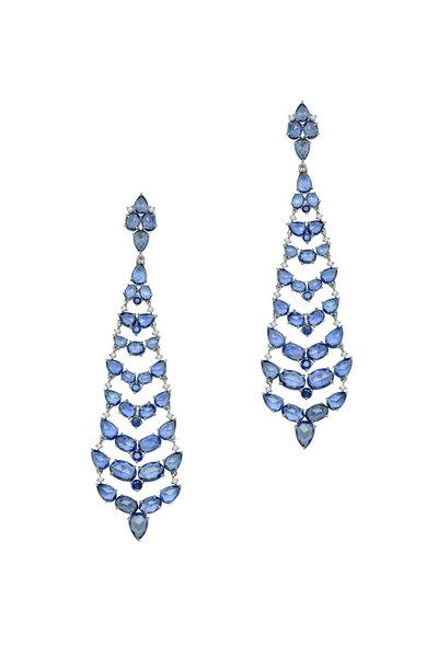 Sutra - White Gold Blue Sapphire Diamond Dangle Earrings