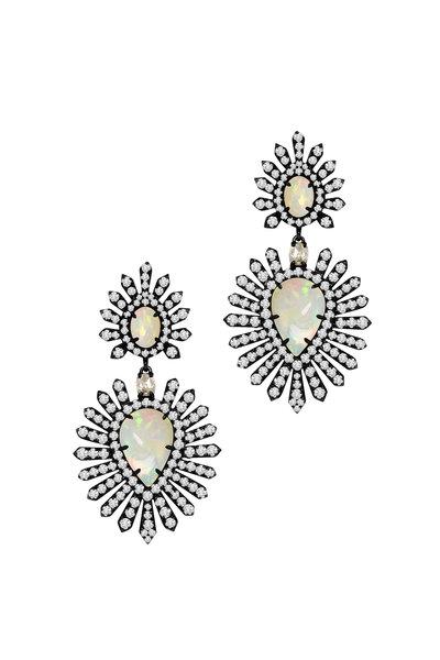 Sutra - 18K Rhodium Gold Opal & Diamond Drop Earrings