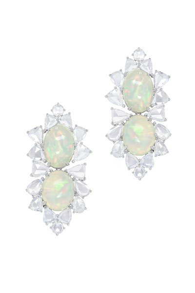 Sutra - White Gold White Opal Diamond Drop Earrings