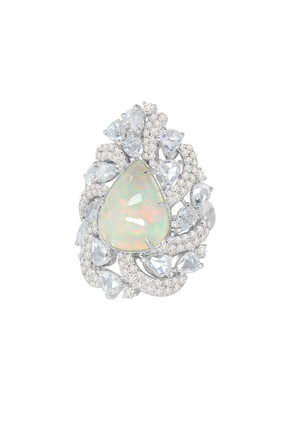 Sutra - White Gold White Opal Diamond Ring