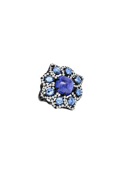 Sutra - 18K Rhodium Gold Tanzanite, Sapphire Diamond Ring