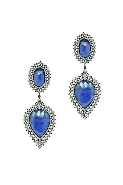 Sutra - 18K Rhodium Gold Tanzanite & Diamond Drop Earrings