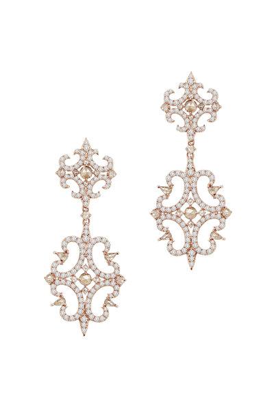 Sutra - Rose Gold Diamond Double Drop Earrings