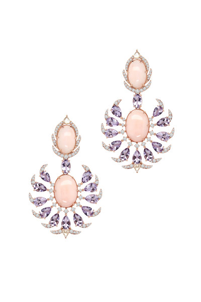 Sutra - Rose Gold Amethyst Pink Opal Diamond Earrings