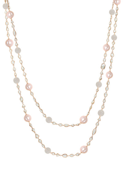 Sutra - Rose Gold Pink Pearl Diamond Necklace