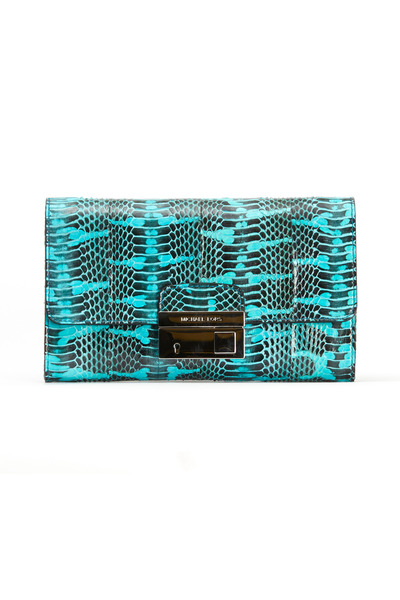 Michael Kors Collection - Gia Aqua Snakeskin Clutch