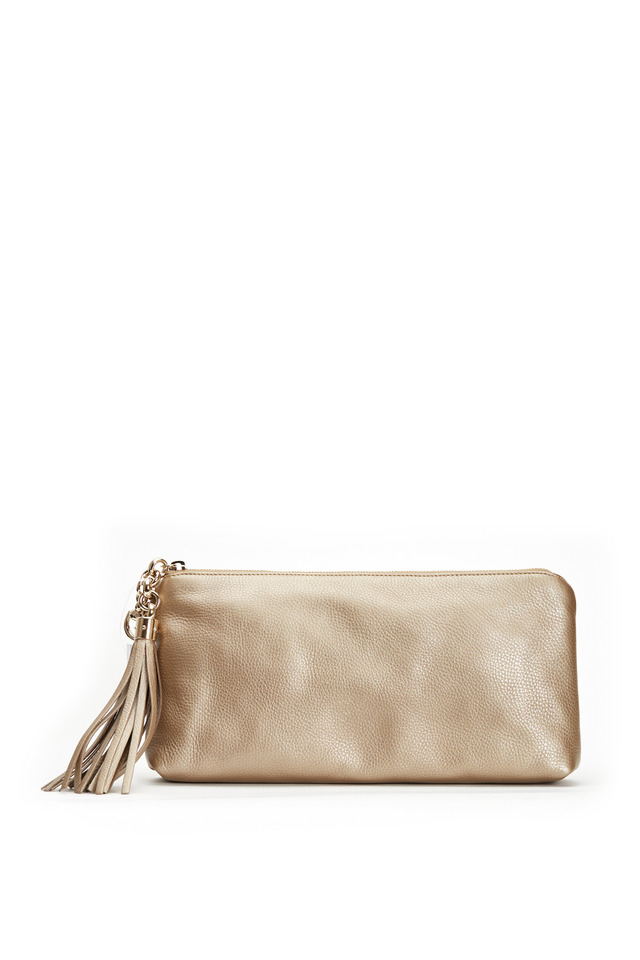 Broadway Metallic Champagne Leather Clutch