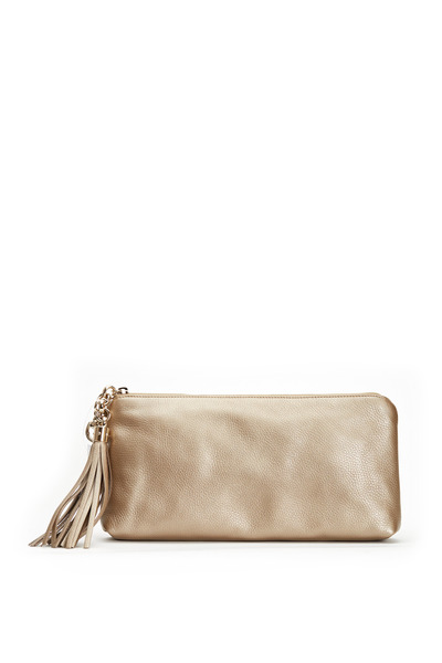 Gucci - Broadway Metallic Champagne Leather Clutch