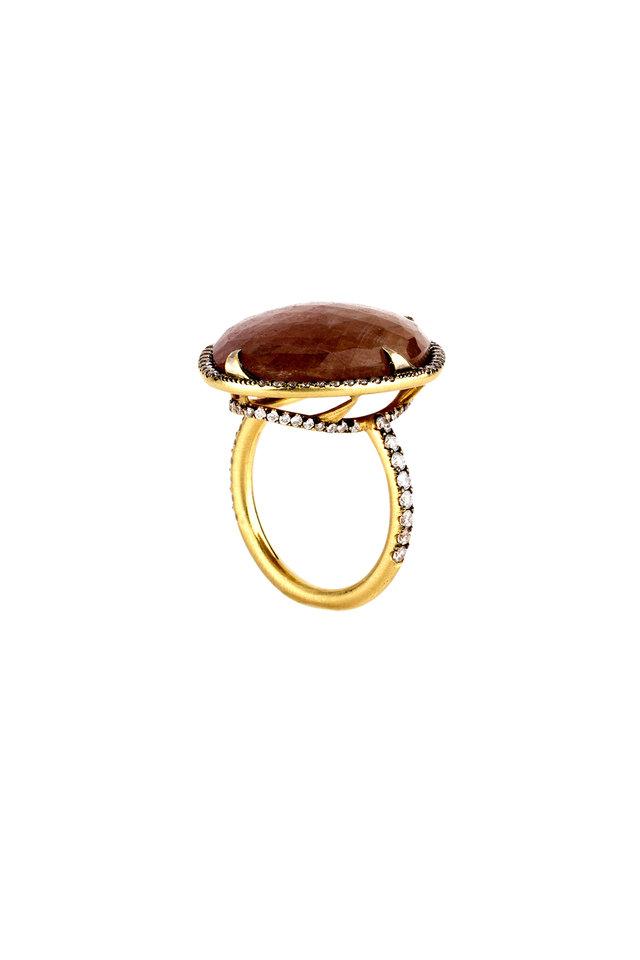 18K Gold Pink Sapphire & Diamond Cocktail Ring