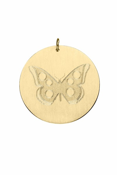 Emily & Ashley - Yellow Gold Butterfly Charm Pendant