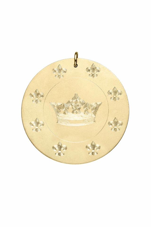 Yellow Gold Crown & Fleur-De-Lis Charm Pendant