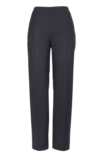 Agnona - Charcoal Gray Wool & Cashmere Flannel Pants