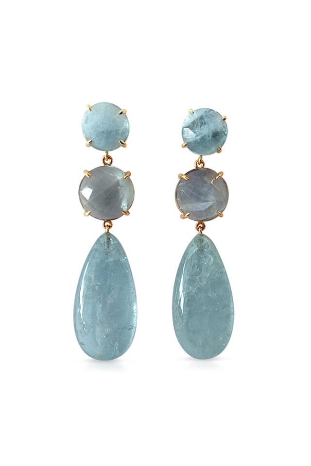Gold Blue Chalcedony And Lapis Drop Earrings