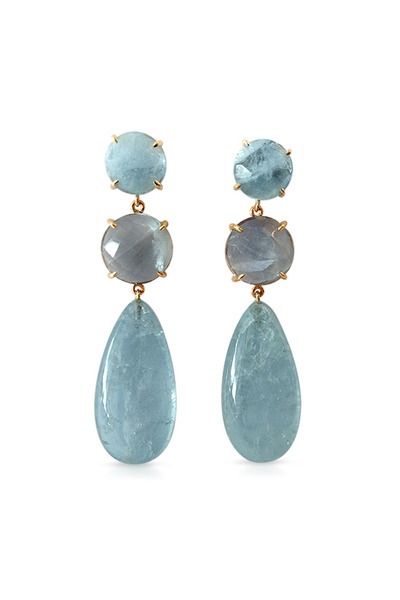 Emily & Ashley - Gold Blue Chalcedony And Lapis Drop Earrings