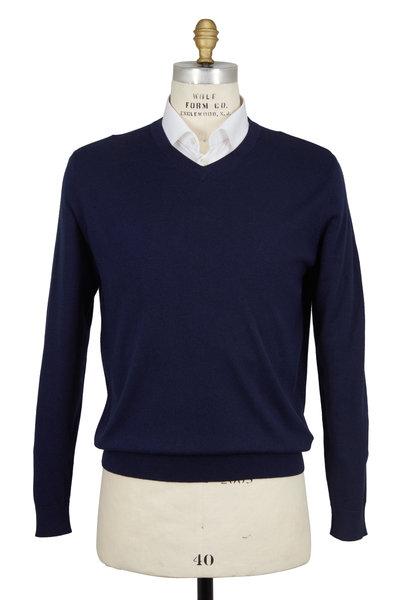 Kinross - Navy Blue Silk & Cashmere V-Neck Sweater
