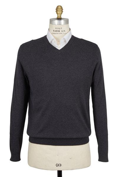 Kinross - Charcoal Gray Silk & Cashmere V-Neck Sweater