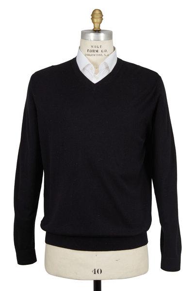 Kinross - Black Silk & Cashmere V-Neck Sweater
