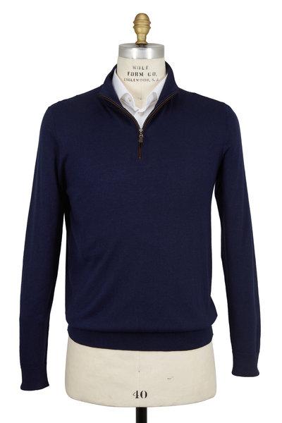 Kinross - Navy Blue Silk & Cashmere Quarter-Zip Pullover