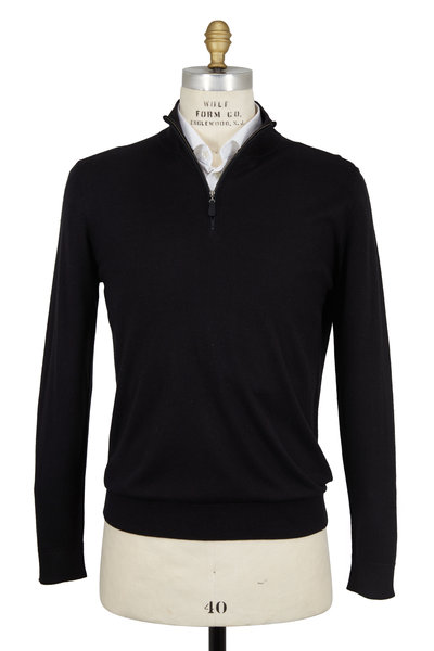 Kinross - Black Silk & Cashmere Quarter-Zip Pullover