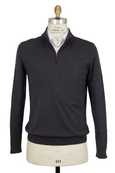 Kinross - Charcoal Gray Silk & Cashmere Quarter-Zip Pullover