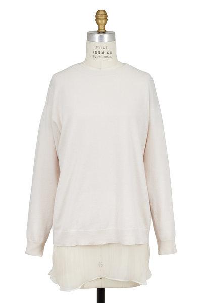 Brunello Cucinelli - Vanilla Cashmere Sweater With Silk Underlay