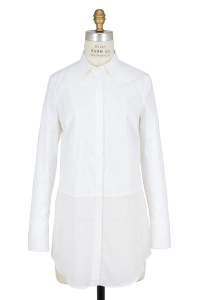 Brunello Cucinelli - White Silk & Poplin Combo Button Down Blouse