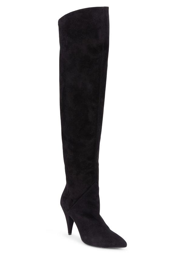 Saint Laurent Cat Black Suede Over-The-Knee Boot, 90mm